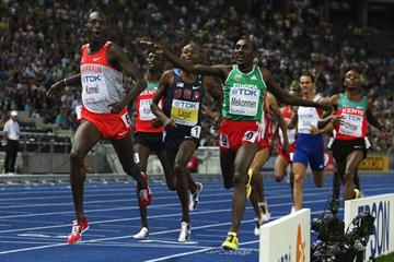 Son of former World Champion Billy Konchellah, Yusuf Saad Kamel of Bahrain crosses the line in the men's 1500m final to take his first global title in the Berlin Olympic Stadium (Getty Images)