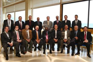 IAAF President Lamine Diack with members of the IAAF Diamond League (Getty Images)