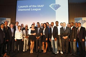 Curtain call - part of the cast for the IAAF Golden League launch in Monaco (Philippe Fitte)
