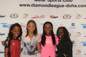 Meserat Defar, Allyson Felix, Veronica Campbell-Brown and Vivian Cheruyiot in Doha (Jiro Mochizuki)