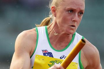 Sally Pearson in action in the 4x100m Relay (Getty Images)