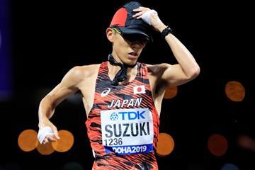 Yusuke Suzuki on his way to winning the 50km race walk at the IAAF World Athletics Championships Doha 2019 (Getty Images)