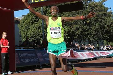Shadrack Korir winning the Cardiff Half Marathon (Organisers)