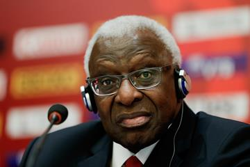 IAAF President Lamine Diack at the IAAF World Championships Beijing 2015 press conference  (Getty Images)
