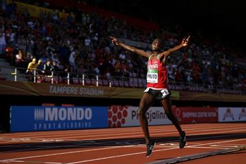 Rhonex Kipruto wins the 10,000m at the IAAF World U20 Championships Tampere 2018 (Getty Images)