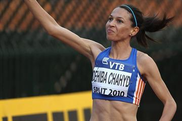 Hind Dehiba after her dramatic 1500m victory in Split (Getty Images)