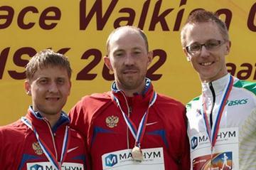 The men's 50km podium in Saransk: Igor Erokhin, Sergey Kirdyapkin and Jared Tallent (Getty Images)