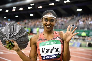 Christina Manning after her 60m hurdles victory in a world-leading 7.77 (Gladys Chai von der Laage)