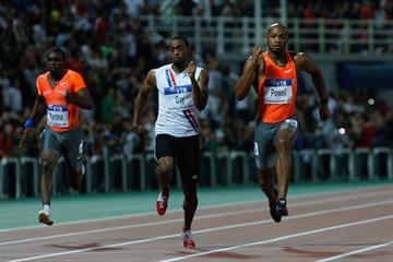 Tyson Gay comes through strong at the end to defeat Asafa Powell in the men's 100m in Thessaloniki (Getty Images)