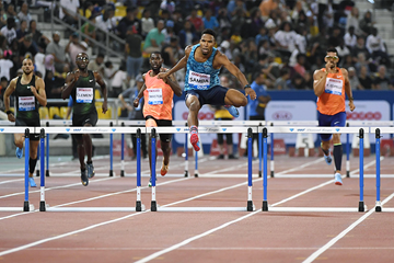 Abderrahman Samba wins the 400m hurdles at the IAAF Diamond League meeting in Doha (Hasse Sjogren)