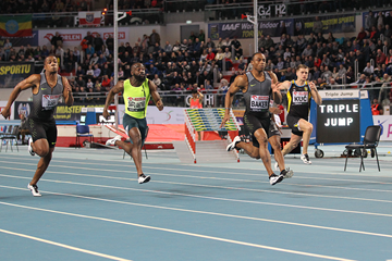 Ronnie Baker in the 60m at the IAAF World Indoor Tour meeting in Torun (Jean-Pierre Durand)
