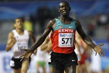 Caleb Ndiku of Kenya crosses the line in 3:37.30 to win the men's 1500m (Getty Images)