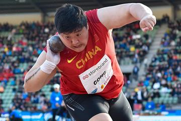 Shot put winner Gong Lijiao at the IAAF Diamond League meeting in Oslo (Deca Text & Bild)