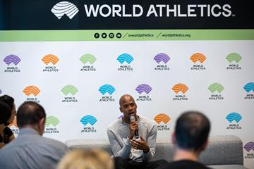 World 400m champion Steven Gardiner speaks to the press in Monaco (Philippe Fitte)