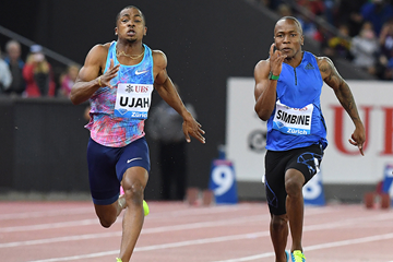 CJ Ujah on his way to winning the 100m at the IAAF Diamond League final in Zurich (Gladys Chai von der Laage)