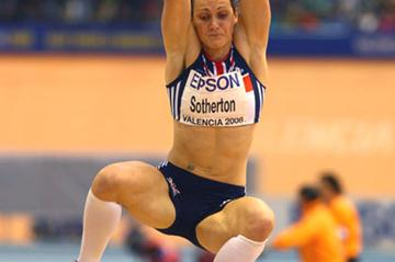 Kelly Sotherton pulls out a 6.45m leap in the last round of the pentathlon long jump (Getty Images)