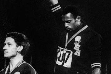 Peter Norman and Tommie Smith on the 200m podium at the 1968 Olympic Games (Getty Images)