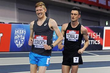 Tom Bosworth in the 3000m race walk at the IAAF World Indoor Tour meeting in Glasgow (Mark Shearman)