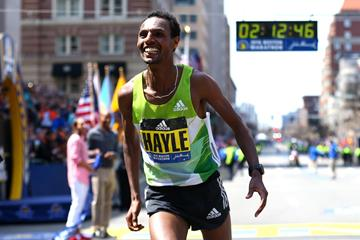 Lemi Berhanu Hayle after winning the 2016 Boston Marathon (Getty Images)