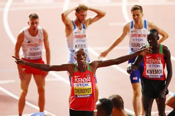 It's a bird, it's a plane.. Timothy Cheruiyot after winning the 1500m title at the IAAF World Championships Doha 2019 (Getty Images)