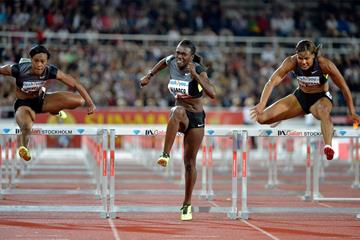 Dawn Harper on her way to winning the 100m hurdles in Stockholm (Deca Text & Bild)