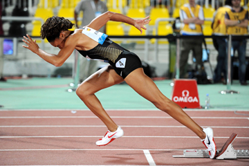 Allyson Felix in action at the Doha Diamond League meeting (Jiro Mochizuki)