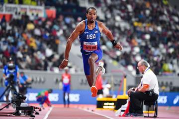 Christian Taylor sails to a fourth world title in Doha (AFP/Getty Images)