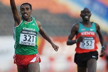 Marese Kahsay of Ethiopia wins the 2000m steeplechase at the 2013 World Youth Championships (Getty Images)