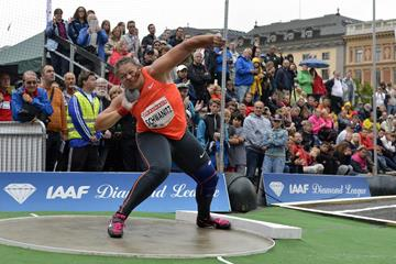 Christina Schwanitz at the 2015 IAAF Diamond League meeting in Stockholm (Deca Text&Bild)