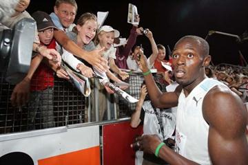 Usain Bolt after the 200m in Lausanne in 2008 (Olivier ALLENSPACH/Switzerland)