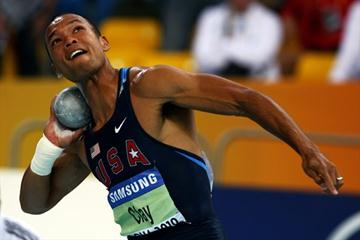 Bryan Clay of the United States launches the shot in the heptathlon (Getty Images)