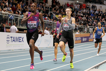 Bralon Taplin on his way to winning the 400m at the IAAF World Indoor Tour meeting in Torun (Jean-Pierre Durand)
