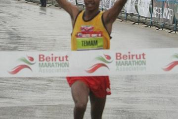 Mohammed Temam of Ethiopia winning the BLOM Beirut Marathon (organisers)