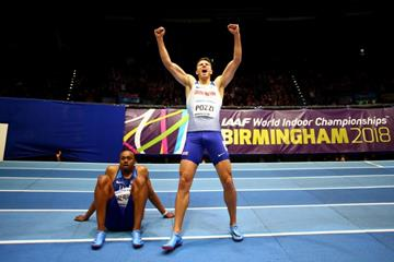 Andrew Pozzi celebrates his 60m hurdles win at the IAAF World Indoor Championships Birmingham 2018 (Getty Images)