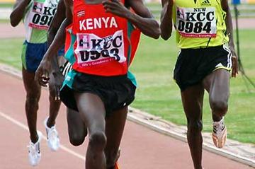 Ezekiel Kemboi wins the 3000m Steeplechase at the Kenyan Trials (Ricky Simms)