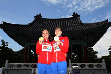 Olga Kaniskina and Anisya Kirdyapkina celebrate winning gold and bronze in the 20km race walk (Getty Images)