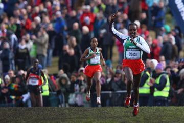 Tirunesh Dibaba en route to victory in Edinburgh (Getty Images)