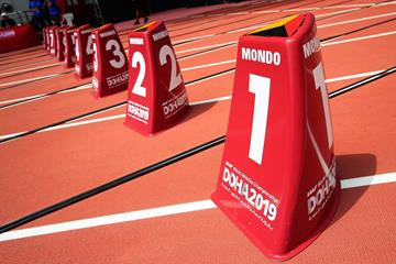 Lane markers in Khalifa International Stadium, venue of the IAAF World Athletics Championships Doha 2019 (Getty Images)