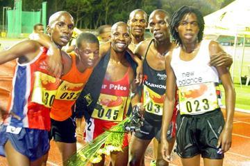 All smiles - Motsamai Motone after his 5000m PB in Port Elizabeth (Mark Ouma)