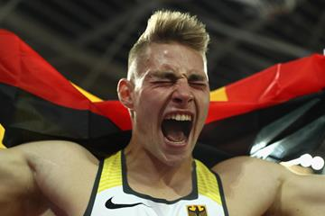 Johannes Vetter after winning the javelin at the IAAF World Championships London 2017 (Getty Images)