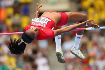 Brigetta Barrett in the womens High Jump at the IAAF World Championships Moscow 2013 (Getty Images)