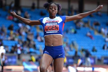 Lorraine Ugen in the long jump at the British Championships in Birmingham (Getty Images)