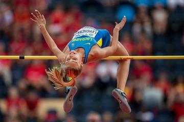 Yuliia Levchenko in the high jump at the IAAF World U20 Championships Bydgoszcz 2016 (Getty Images)