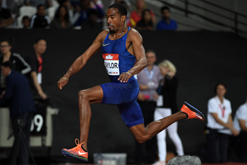 Christian Taylor in the triple jump at the IAAF Diamond League meeting in London (Kirby Lee)