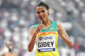 Letesenbet Gidey at the IAAF World Athletics Championships Doha 2019 (AFP / Getty Images)