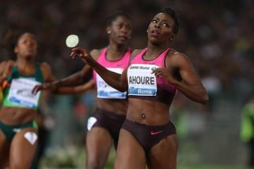 Murielle Ahoure winning at the IAAF Diamond League meeting in Rome (Giancarlo Colombo)