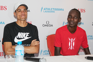 Matthew Centrowitz and Asbel Kiprop at the press conference for the IAAF Diamond League meeting in Lausanne (Daniel Mitchell)