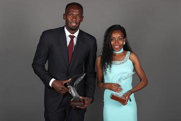 World Athletes of the Year Usain Bolt and Almaz Ayana at the IAAF Athletics Awards 2016 (Giancarlo Colombo / IAAF)