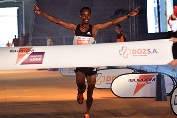 Mesfin Alemu wins the Lodz Half Marathon (Organisers)