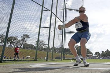 Nick Miller in the hammer at the IAAF Hammer Throw Challenge meeting in Bragança Paulista (Wagner Carmo / CBAt)